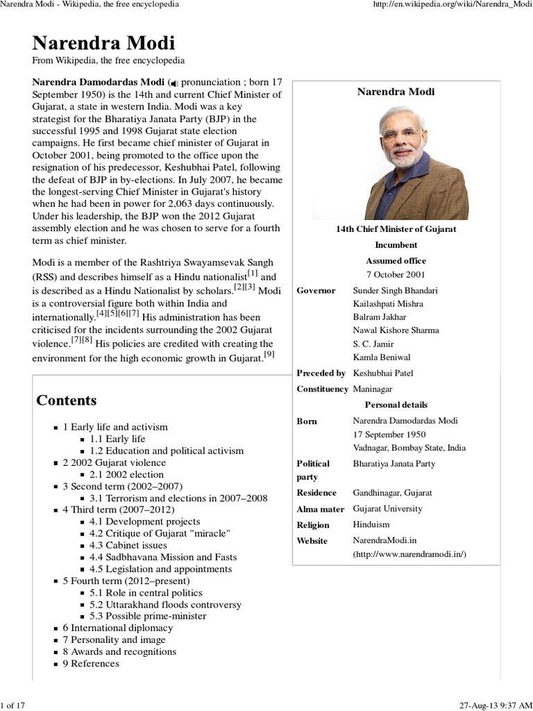 Narendra Modi - Wikipedia, The Free Encyclopedia | Narendra Modi ...