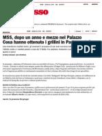 M5S, Dopo Un Anno e Mezzo Nel Palazzo Cosa Hanno Ottenuto i Grillini in Parlamento