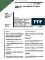 NB_568 - Projetos de interceptores de esgoto sanit+írio