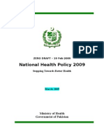 National Health Policy 2009 Pakistan
