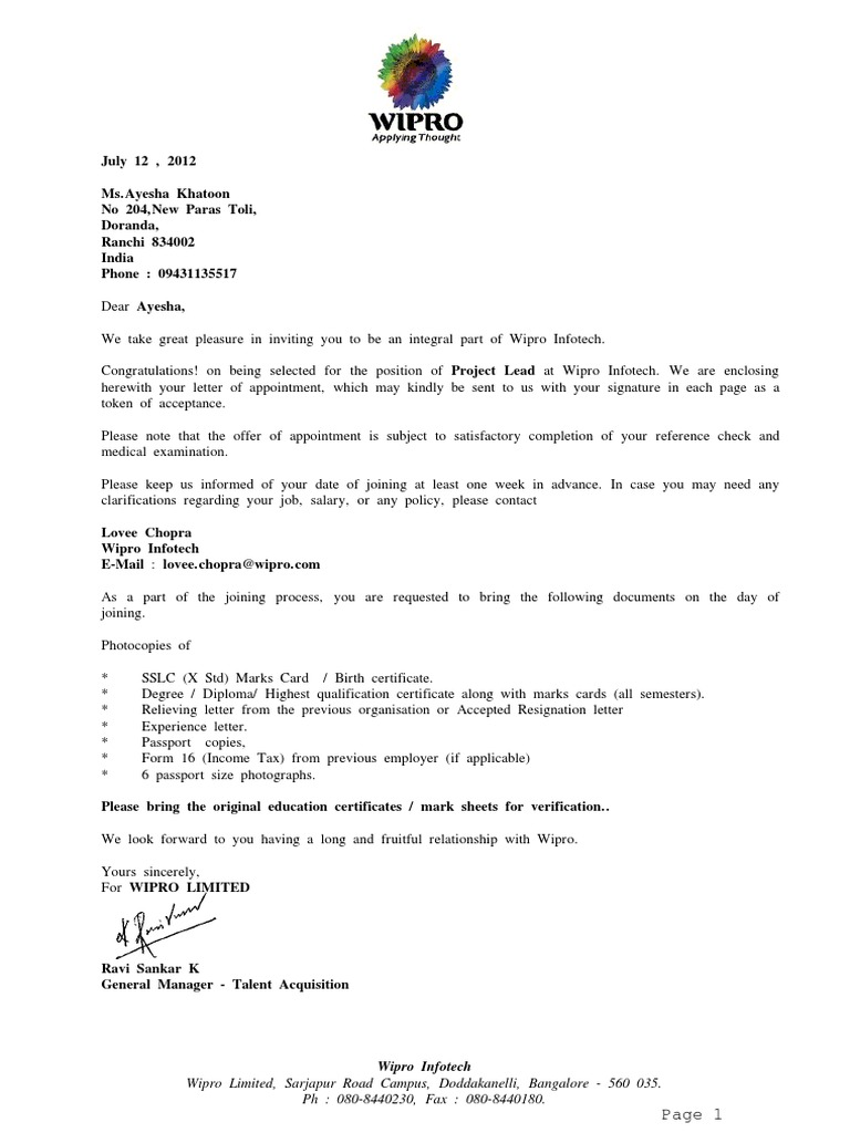 wipro offer letter companies bangalore