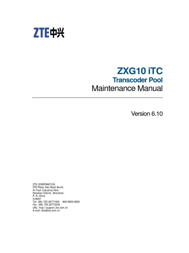 Sjzl20073803-ZXG10 ITC (V6[1].10) Maintenance Manual ...
