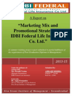 By Adarsh Mishra Report on Marketing Mix & Promotional Strategies at IDBI Federal Lfe Insurance Final Report