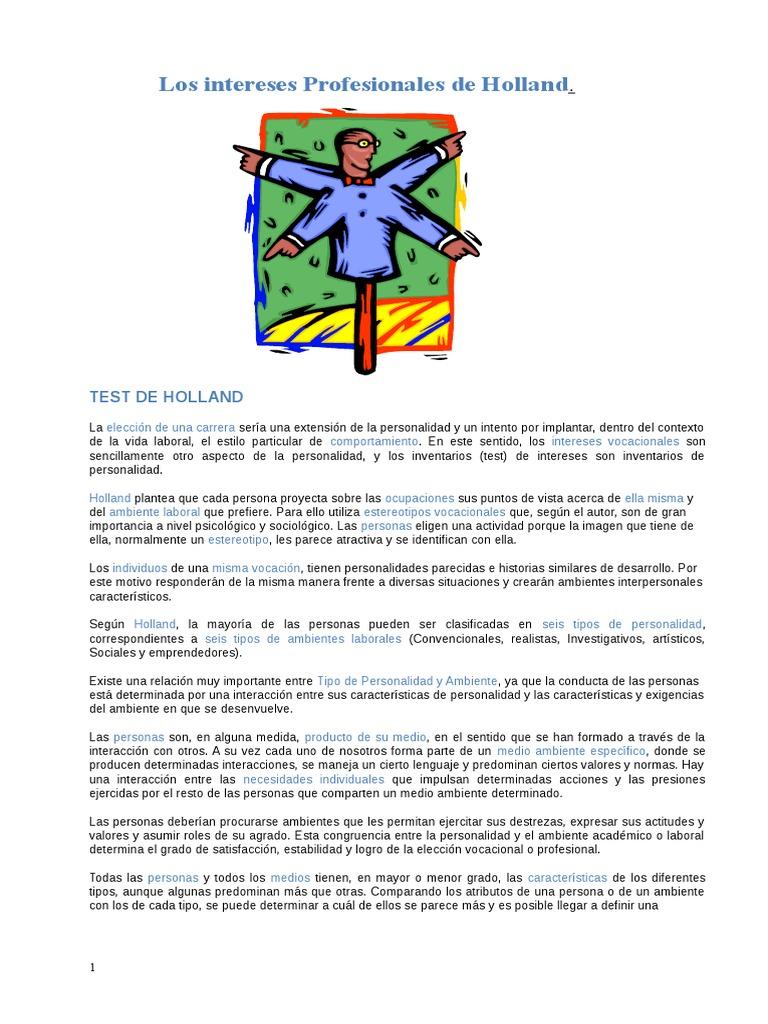 TESTUL HOLLAND PDF