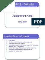HRM - Assignment Hint 2009