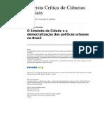 AVRITZER_Leonardp-Art-O Estatuto Da Cidade e a Democratização Das Políticas Urbanas No Brasil