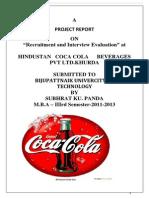 Resruitment Amp Interview Evaluatio in Hindustan Coca-cola Beverages Pvt.ltd.
