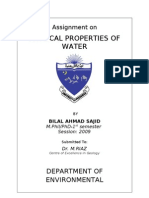 Physical Properties of Water-Bilal Ahmad Sajid