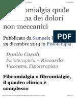 La Fibromialgia Quale Emblema Dei Dolori Non Meccanici