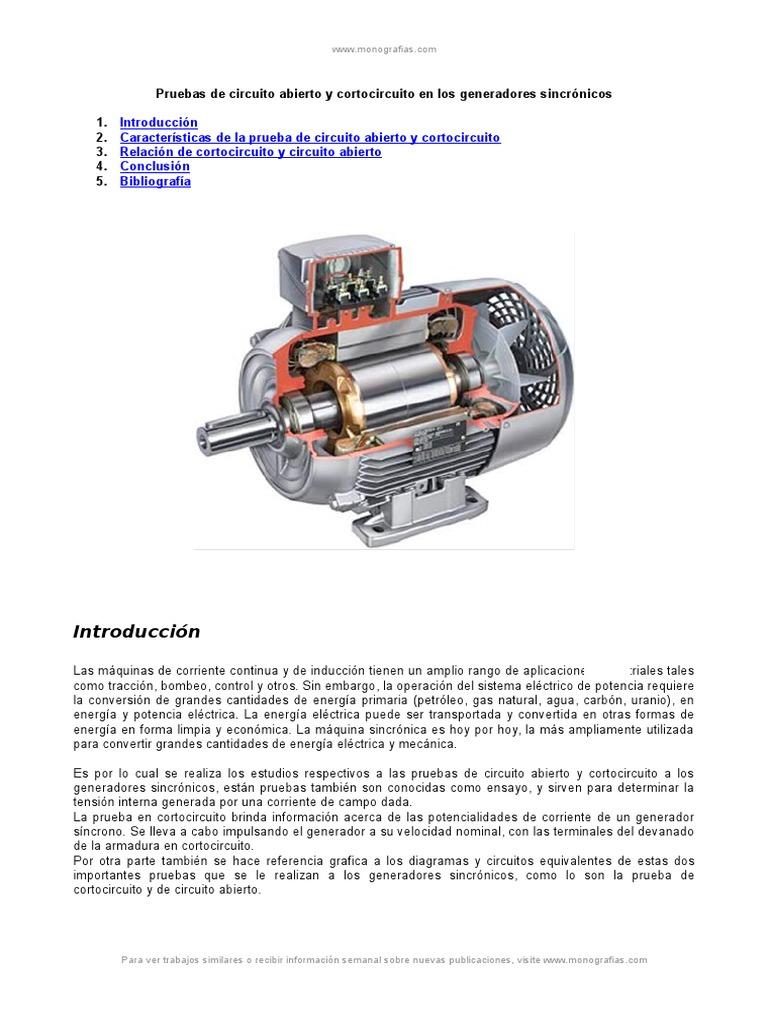 Circuito Abierto : Prueba circuito abierto y cortocircuito generadores sincronicos