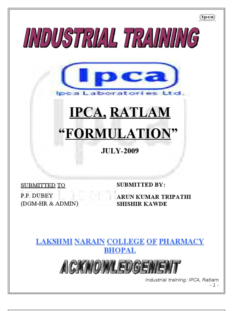 Ratlam Training Report Board Of Directors Pharmaceutical Formulation