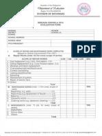 Brigada Eskwela 2014 Evaluation Form