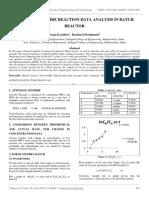 Atenolol Epoxide Reaction Data Analysis in Batch Reactor