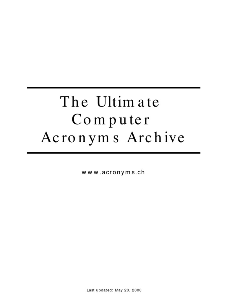 Complete Computer Acronyms | Operating System | Computer Network