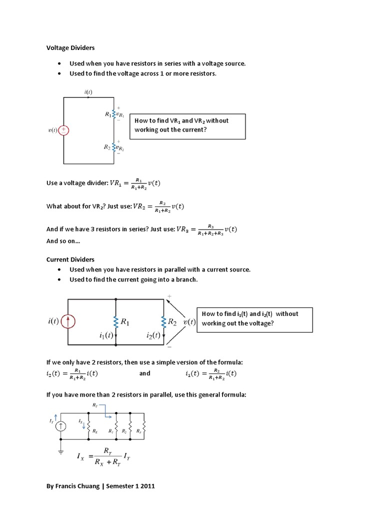 Handout 1 Pdf Series And Parallel Circuits Electrical Working Of Resistors