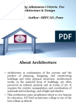 Eligibility Admission Criteria for Architecture & Design