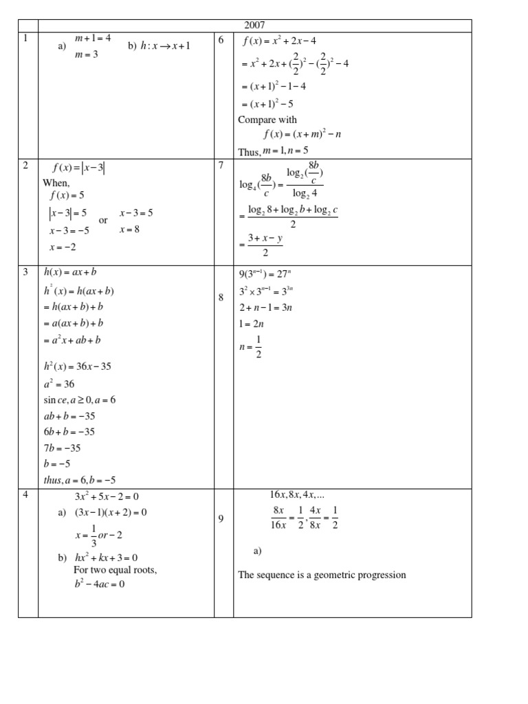 Spm Addmath 2007 Answer Trigonometric Functions Mathematical Problem Solving
