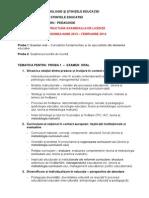 Structura Tematica Licenta Pedagogie