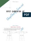 Defect Classification List