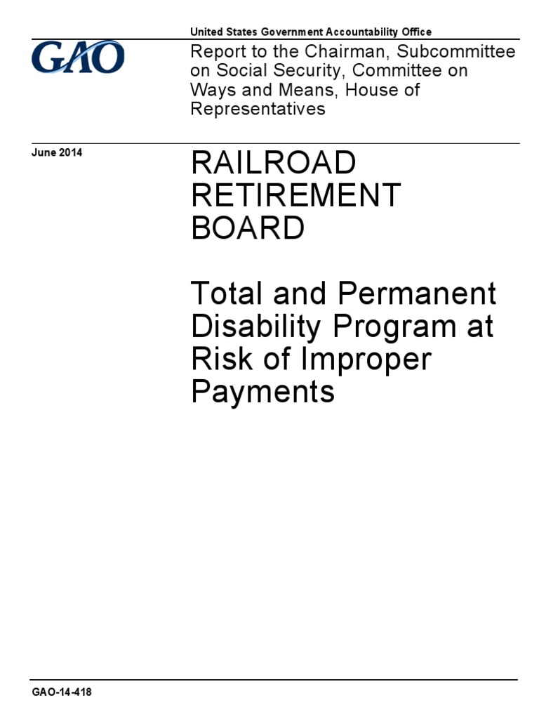 Gao Recommends Legislation Re Notice Of >> Gao Report On U S Railroad Retirement Board And Lirr Disability