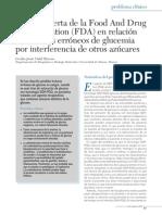 Sobre La Alerta de La Food and Drug Administration (FDA) en Relación Con Valores Erróneos de Glucemia Por Interferencia de Otros Azúcares