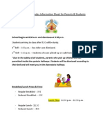 grades 6th-8th parent  student information sheet