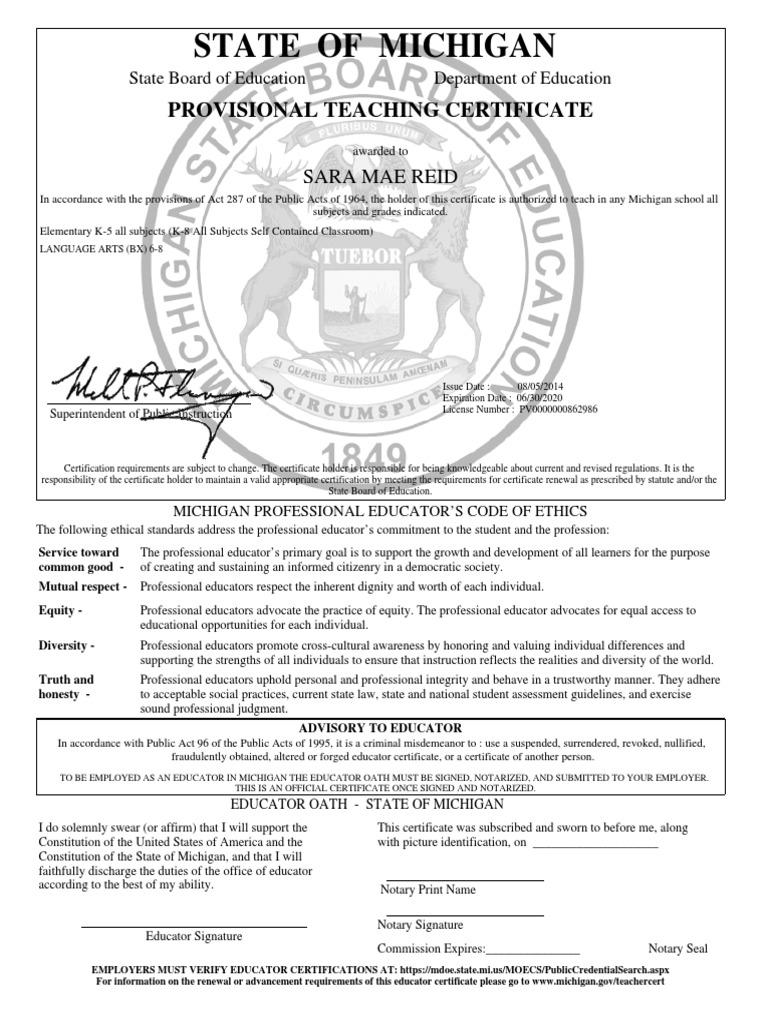 Teaching Certificate Notary Public Politics