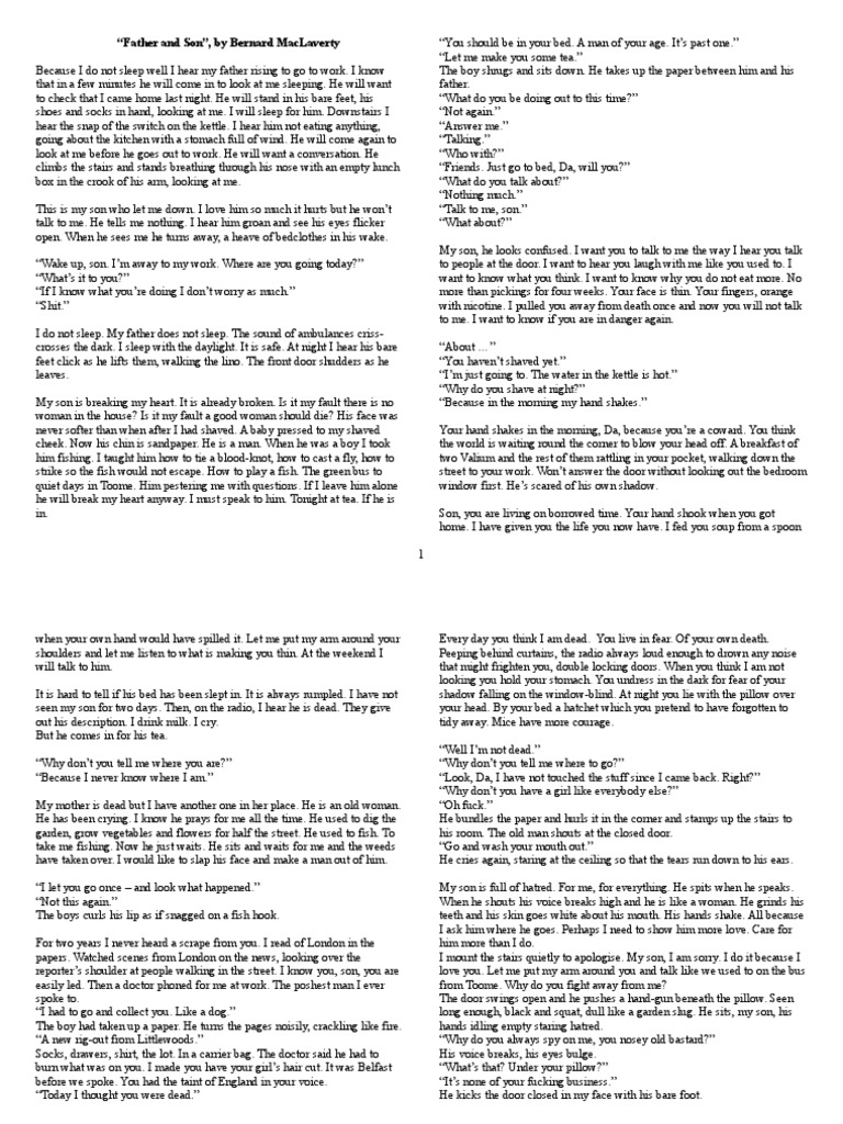 a conversation with my father response essay Report abuse transcript of grace paley  a conversation with my father later the same day the collected stories at the fathers request the daughter writes a story she proceeds to tell him a story about a mother who, in order to be closer to her drug-addicted son, decides to experiment with the.