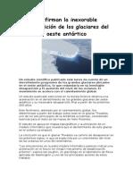 confirman la inexorable desaparicin de los glaciares del oeste antrtico