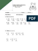 Prueba de Educación Matematica ( Sumas y Restas )