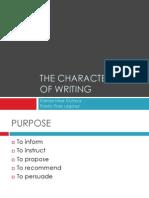 the characteristics of writing