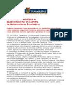 com0842 230806 Fortalecerá Tamaulipas su  papel binacional en Cumbre  de Gobernadores Fronterizos