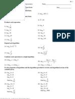 Math IV - Worksheet Logarithmic Functions
