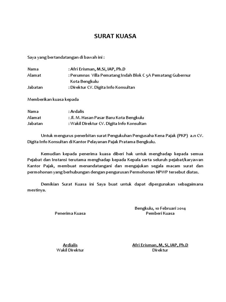 Surat Kuasa Pembuatan NPWP