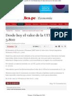 Valor de La Unidad Impositiva Tributaria (UIT) en Perú Al 10-01-2014