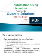 Test Automation Using Selenium Presented by Quontra Solutions