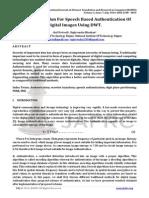 A Novel Algorithm For Speech Based Authentication Of Digital Images Using DWT.