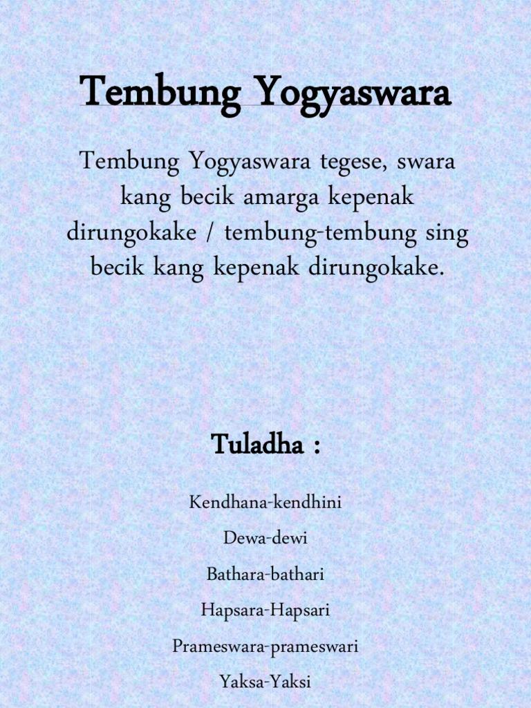 Tembung Yogyaswara
