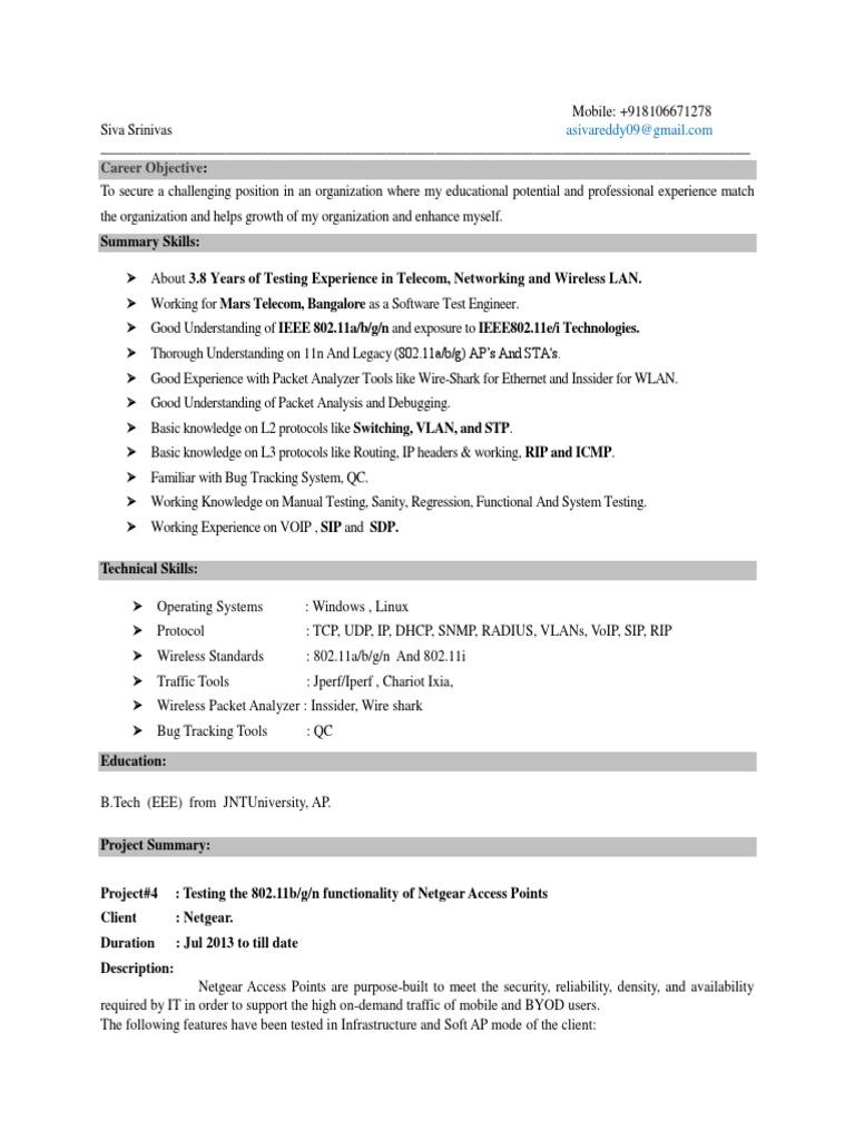 Siva Wlan Testing Resume Session Initiation Protocol Wireless Lan