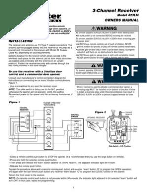 Liftmaster 423lm Manual | Antenna (Radio) | Manufactured GoodsScribd