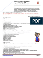 Plano Estudo Matematica 7ano