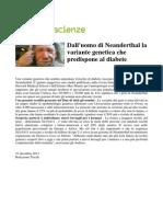 Dall'Uomo Di Neanderthal La Variante Genetica Che Predispone Al Diabete.