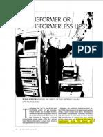 [] Transformer or Transformerless Ups[2003]{Koffler}