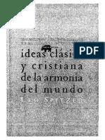 LEO SPITZER, Ldeas Clasica y Cristiana de La Armonia Del Mundo. PROLEGOMENOS a UNA INTERPRETACION de La Palabra Stimmung