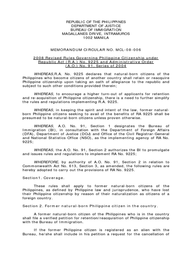 Doj mcl 08 006 revised rules governing philippine citizenship doj mcl 08 006 revised rules governing philippine citizenship under republic act ra 9225 birth certificate citizenship aiddatafo Gallery