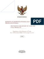Regulation of MoT No. 39/M-DAG/PER/7/2014 Indonesia Export of Coal and Coal Products
