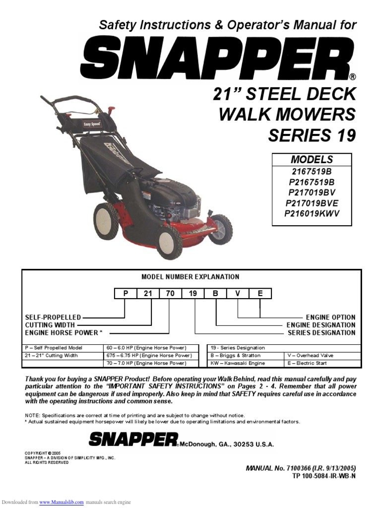 Replace Blade Belt On Snapper Manual Guide