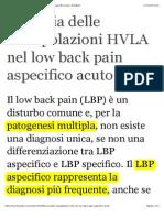 Efficacia Delle Manipolazioni HVLA Nel Low Back Pain Aspecifico Acuto