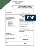 Planificación ETICA 4° - TRADUCTORADO - 2014 - PAOLINI