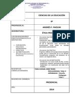 Planificación Ética Profesional 4º - Cs de La Educación - 2014 - Paolini